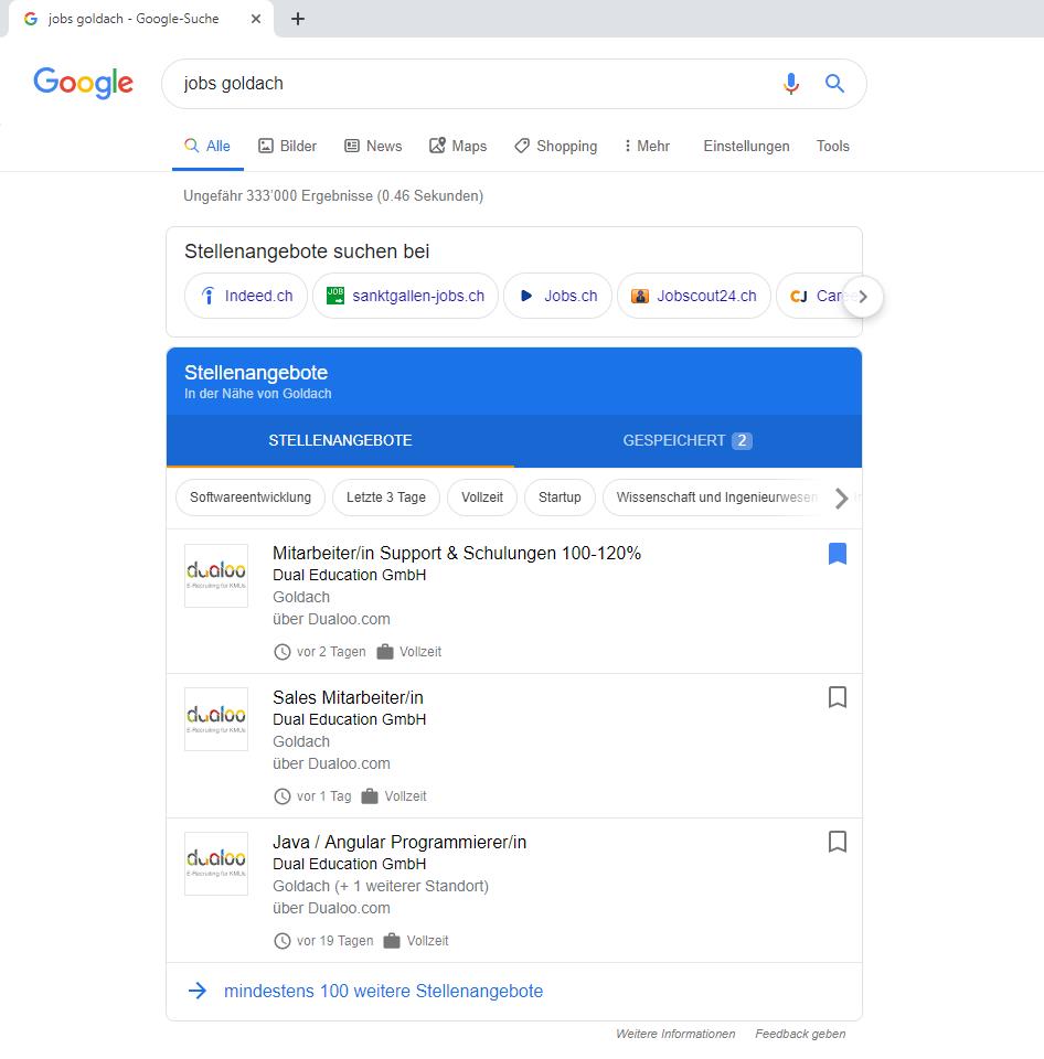 Google for Jobs Beispiel-Suche